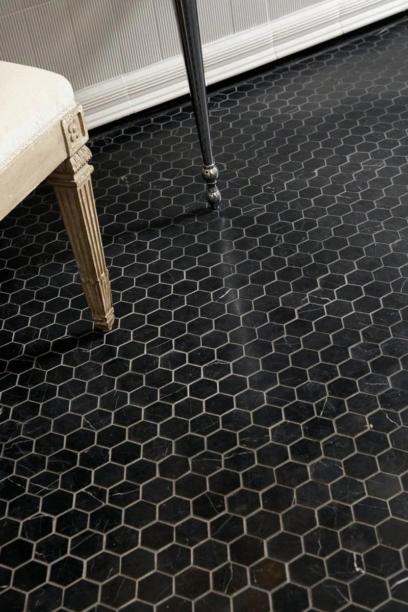 nero marquina black marble hexagon
