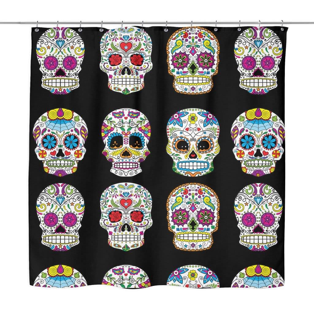 dia de los muertos sugar skull shower curtain 70x73