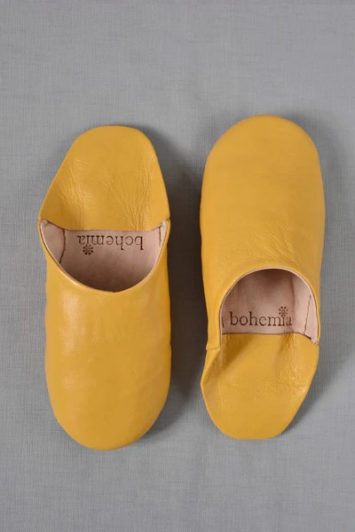 Ladies Moroccan Leather Slippers Mustard Decorators
