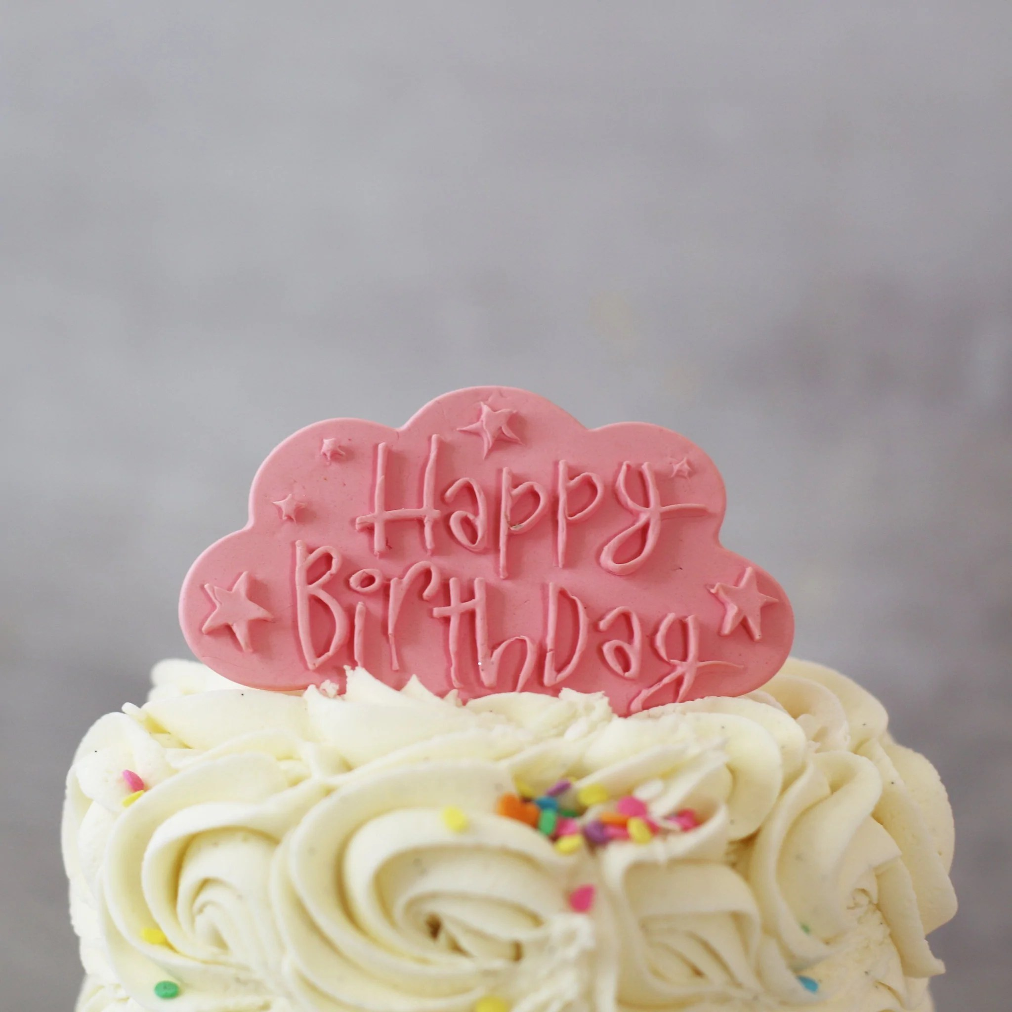Pale Pink Happy Birthday Cake Plaque The Cupcake Queens