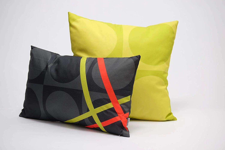 eclante belgusto indoor outdoor throw pillow gray black lemon and red