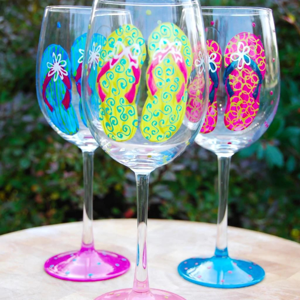 Flip Flops Hand Painted Wine Glasses Glorious Goblets