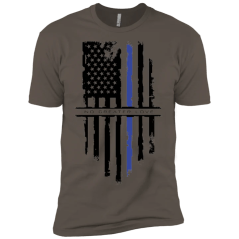 NGL Tattered Blue Line Flag Premium Short Sleeve T-Shirt