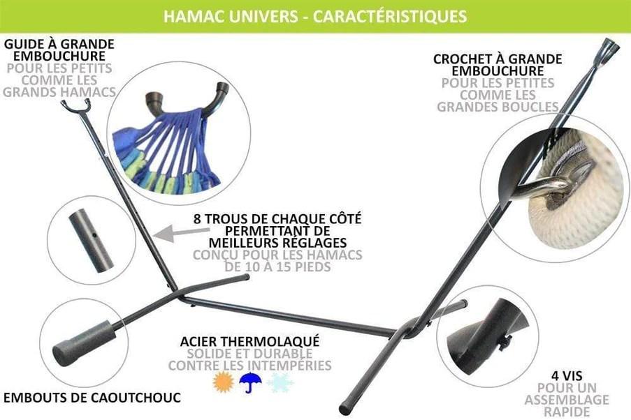 support hamac universel pour hamac sans barres de bois