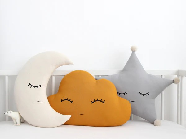set of 3 cloud moon and star pillows