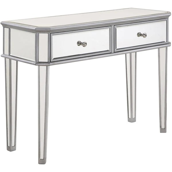 chamberlan 40 x16 x30 2 drawer rectangle mirrored console table silver