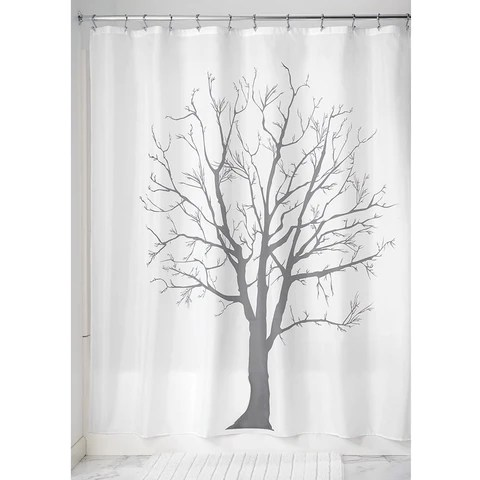 tree shower curtain charcoal