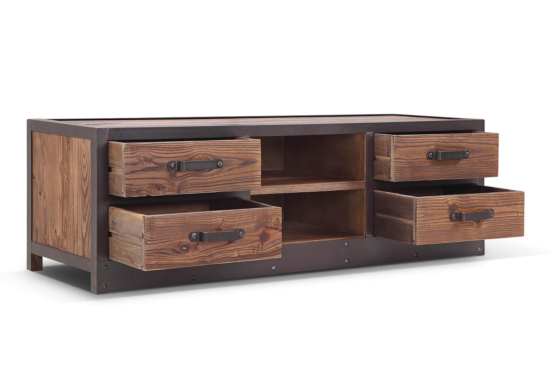 tiroirs du meuble tv bas industriel vintage tv02