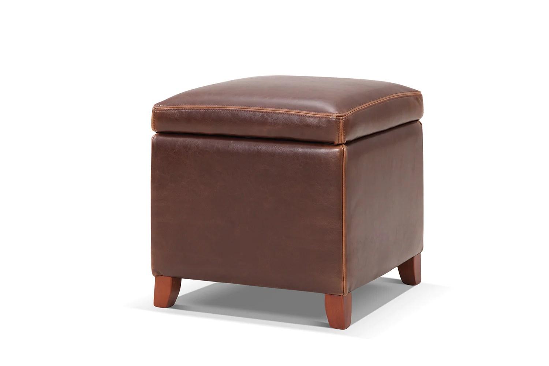 ottoman pouf avec rangement en cuir