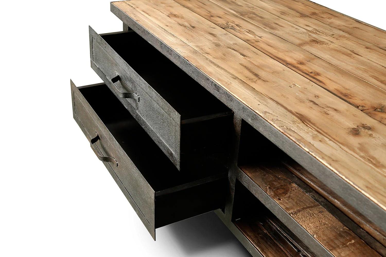 meuble tv industriel a roulettes bois