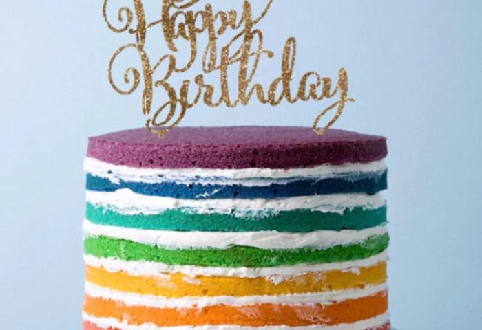 Cake Topper For Birthday Happy Birthday In Glitter Or Wood Z