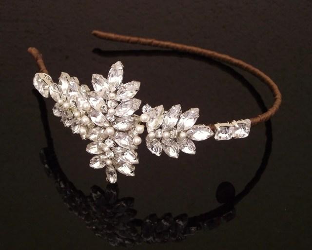vintage style deco hairband, wedding headpiece, duchess
