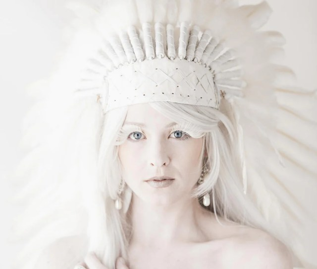 Price Reduced N Extra Large Indian White Feather Headdress Headdress  Inch Long