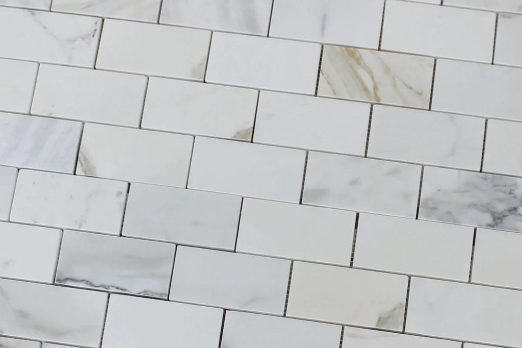 2 x 4 calacatta gold marble subway tiles