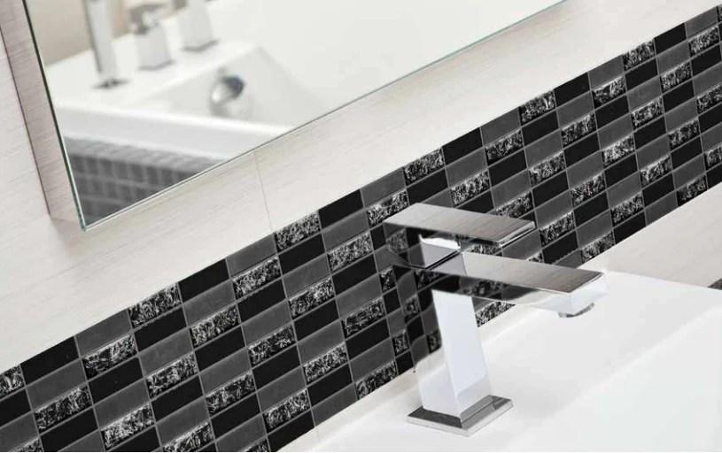 sparkle black glass mosaic subway tiles