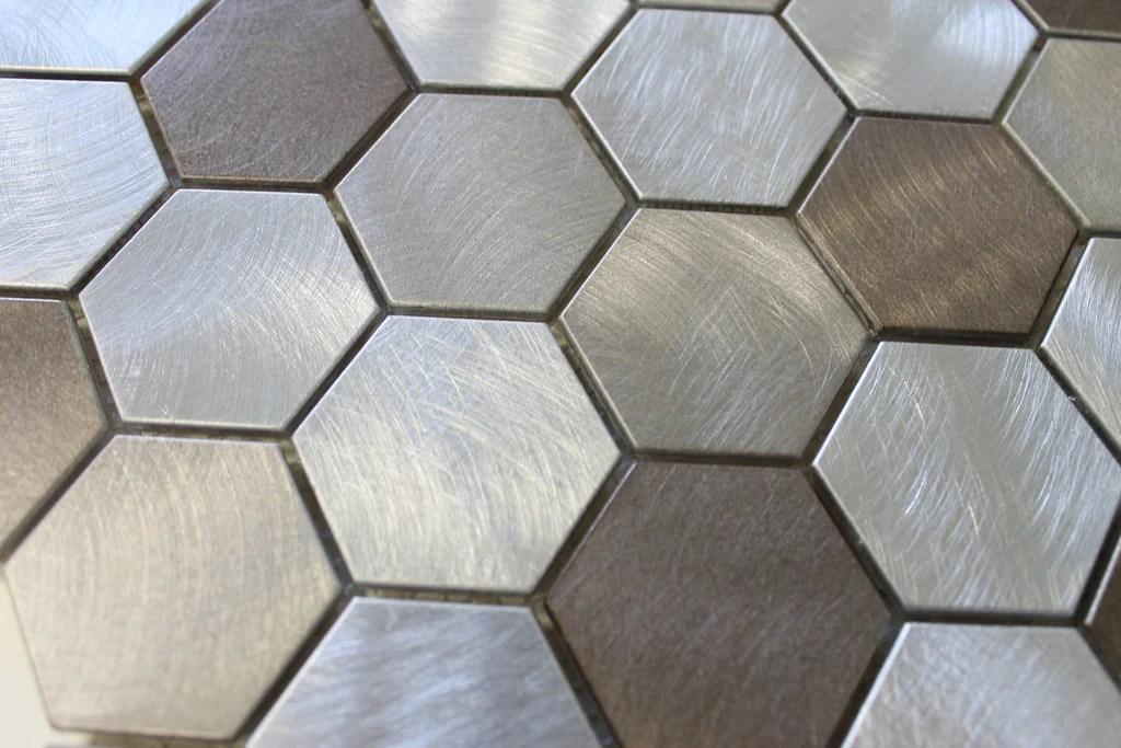 new amsterdam brushed aluminum 2 inch hexagon mosaic tiles