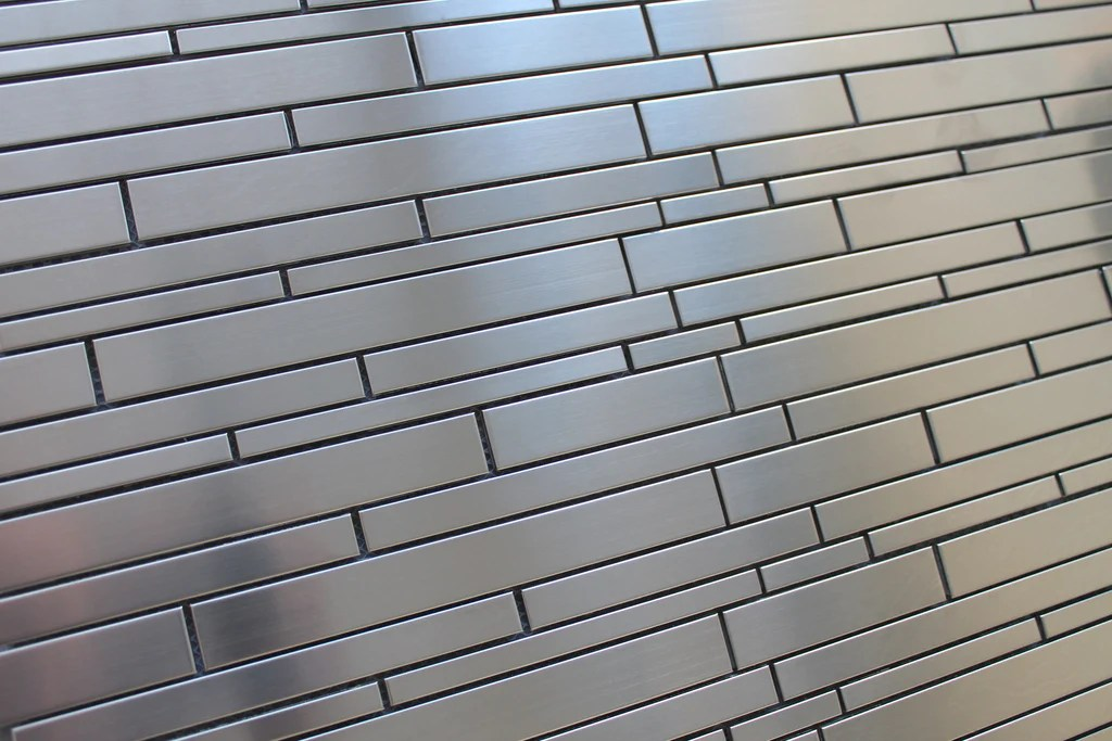stainless steel random strips mosaic tiles