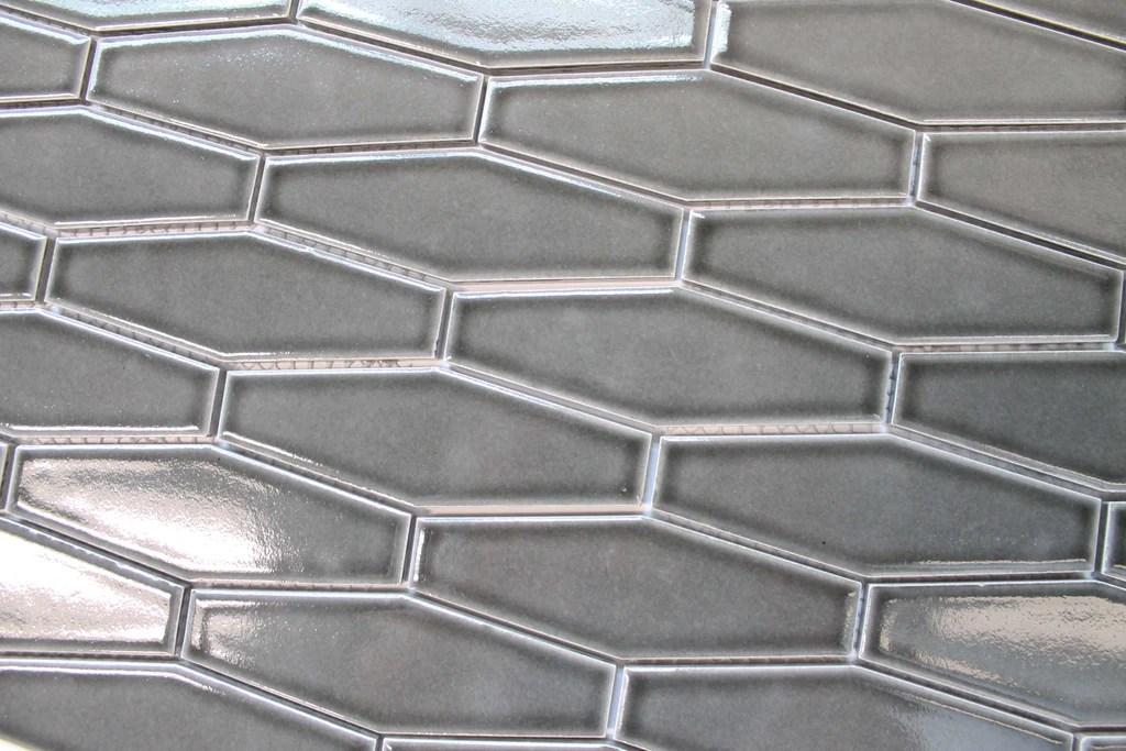 atlanta elongated 3d hexagon mosaic tiles dark gray