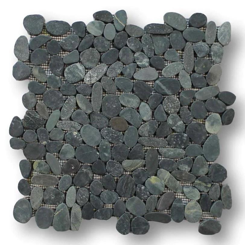 island pebble stone mosaic tiles level black