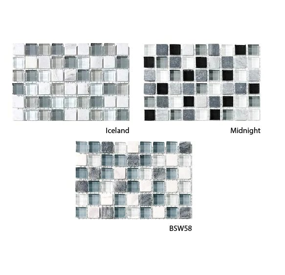 bliss glass and stone square mosaic tiles combo pack cool