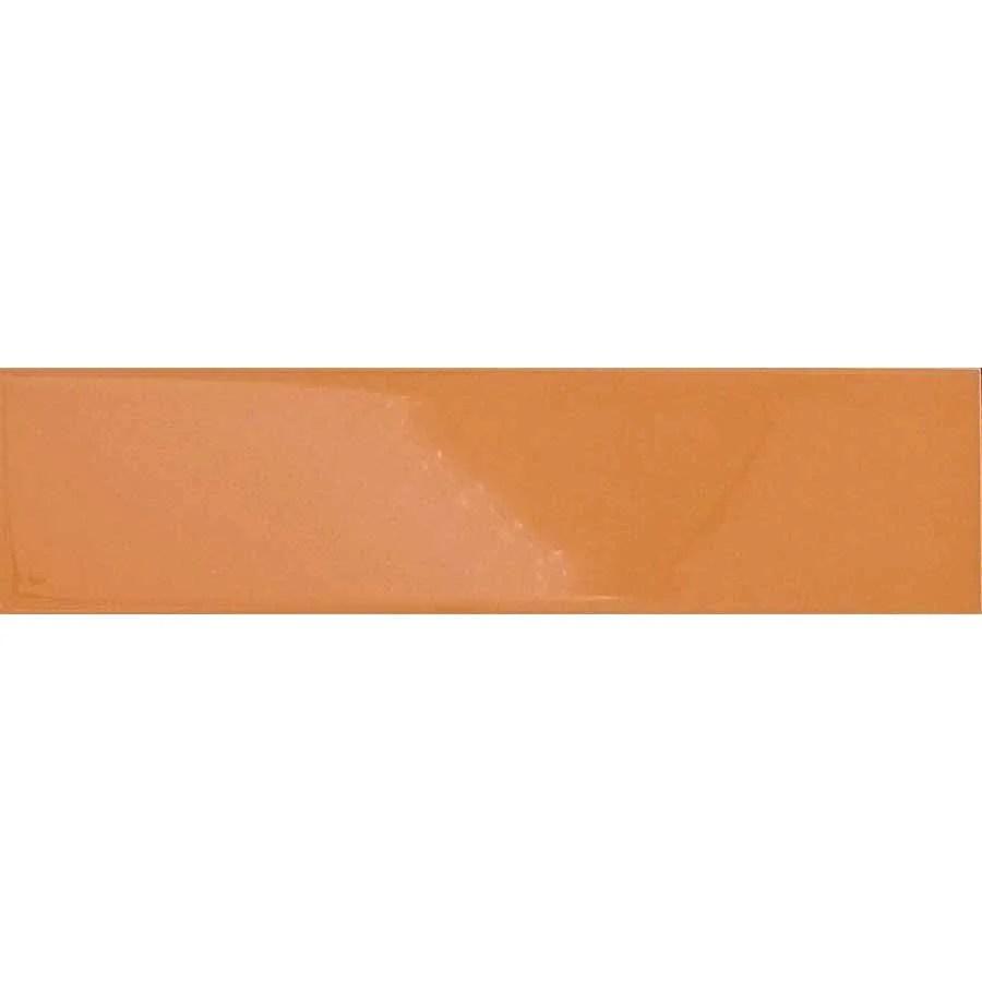 orange glossy ceramic subway tiles creamsicle