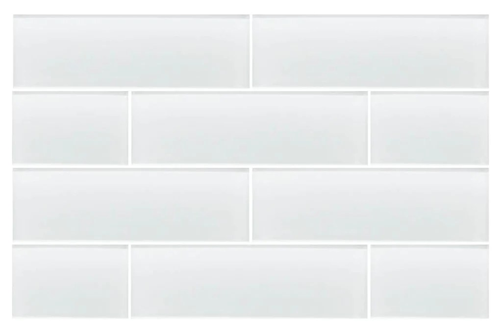 white 4x12 glass subway tiles snow white