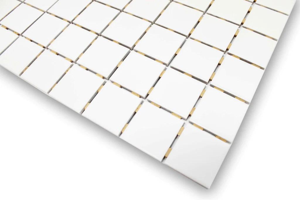 white glazed porcelain 2x2 mosaic tiles