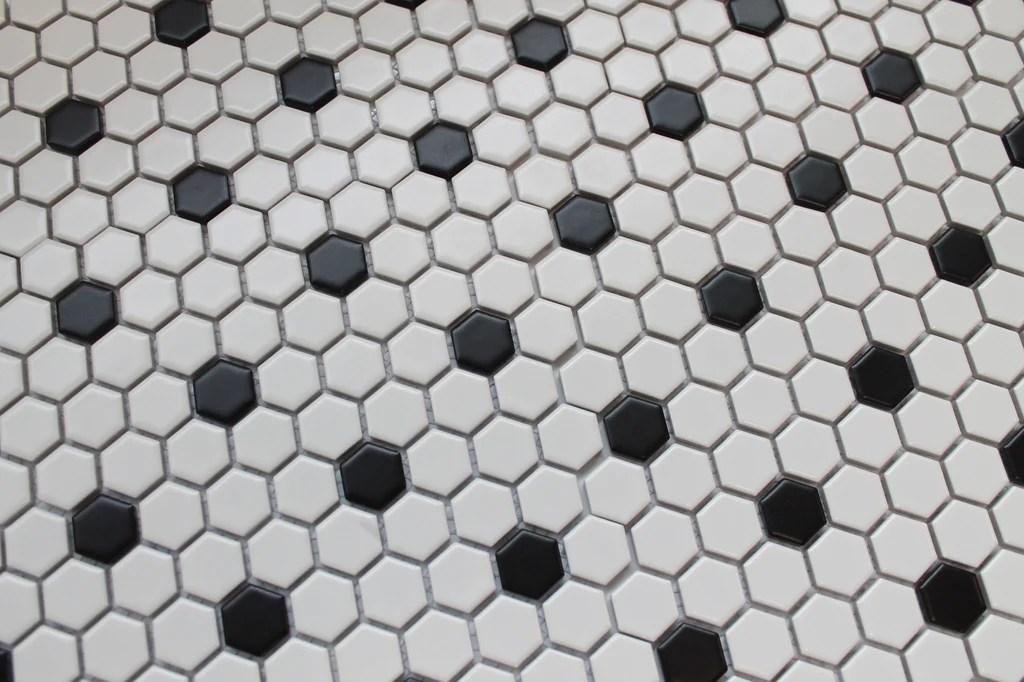 glazed porcelain hexagon mosaic tiles 1 inch black and white tiles