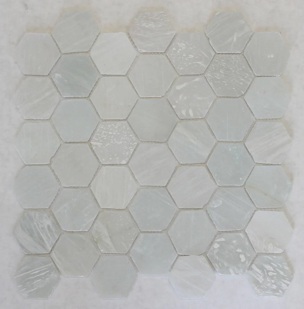 white beach glass recycled hexagon mosaic tile