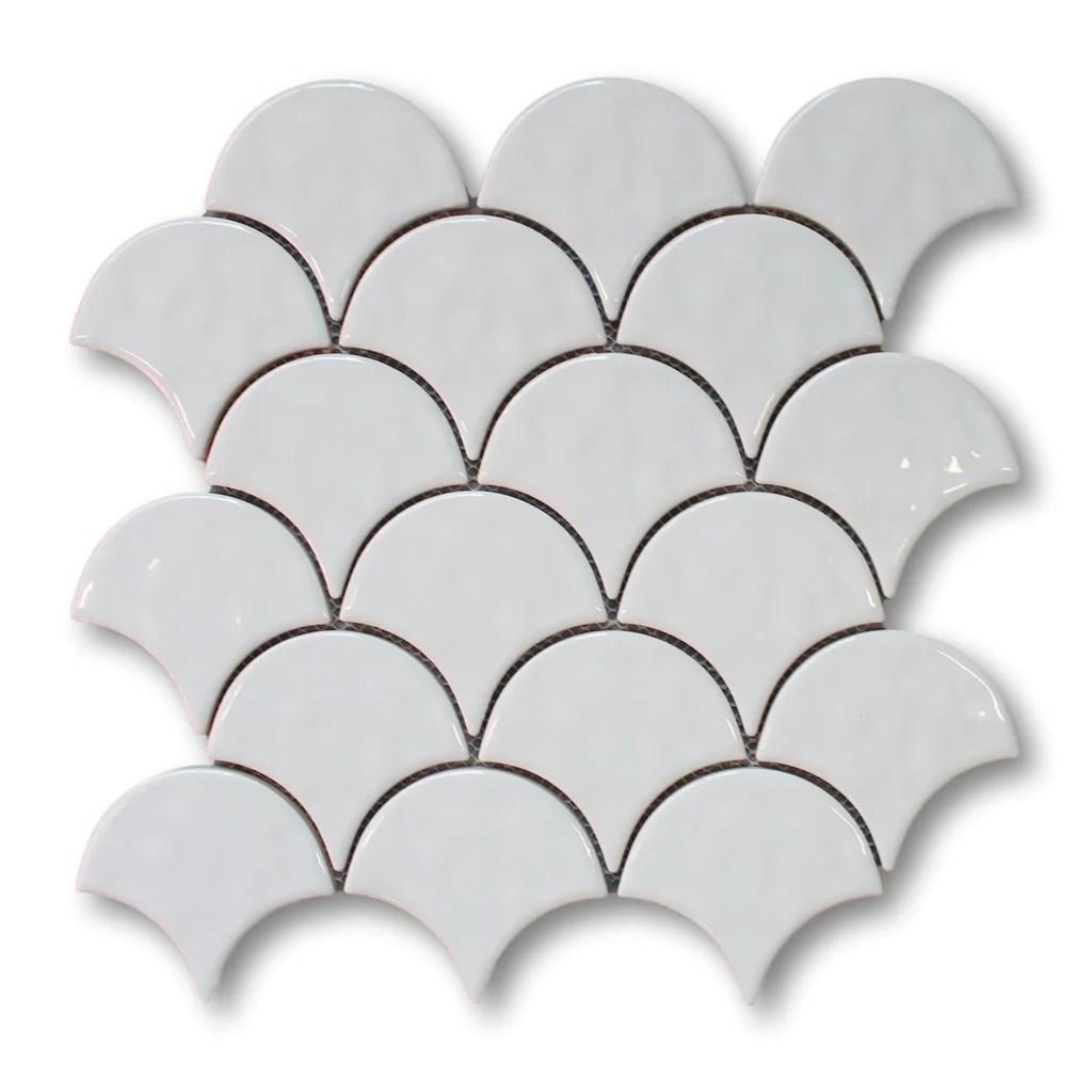 ceramic fish scale mosaic tiles white