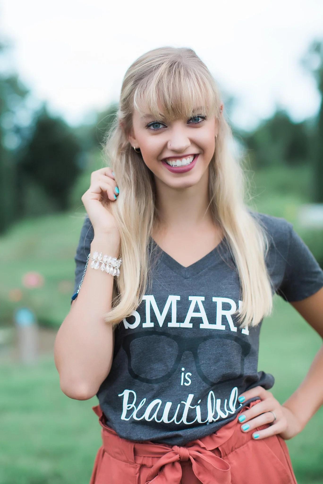 Smart Is Beautiful Nerd Girl V Neck Tee