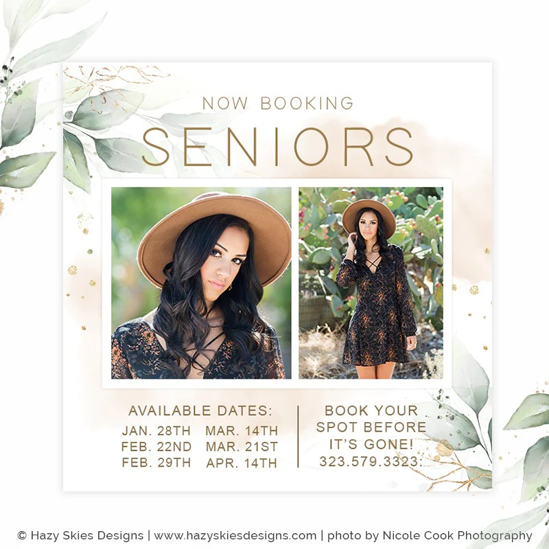Senior Marketing Template Photoshop Gold Leaf