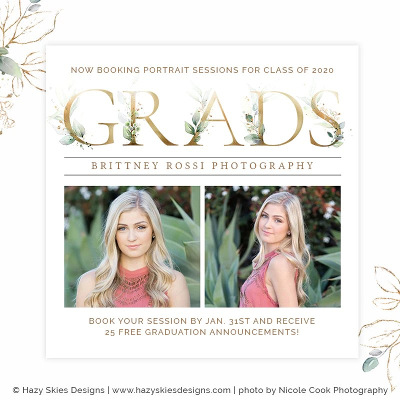 Senior Marketing Template Photoshop Gorgeous Grad