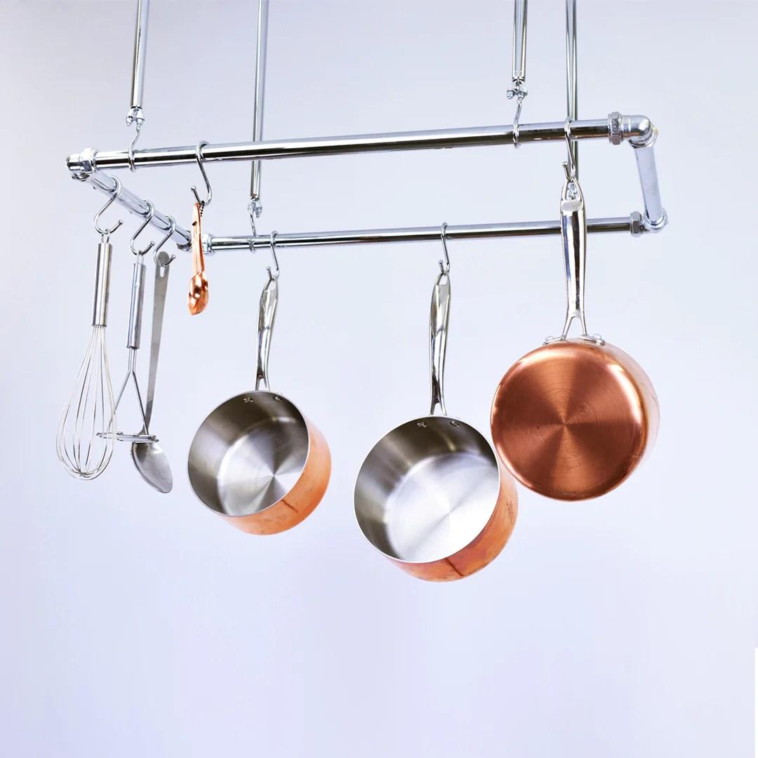 chrome ceiling pot and pan rack