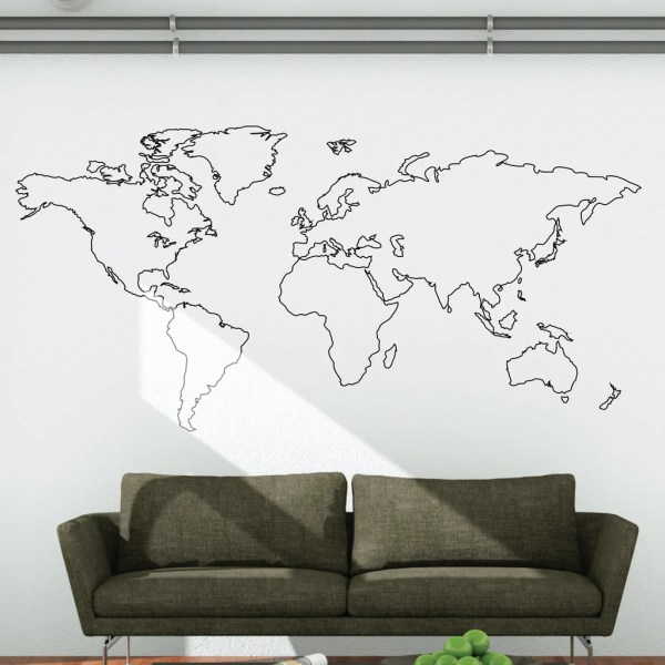 World Map Outline Wall Decal   Wallboss Wall Stickers   Wall Art     World Map Outline Wall Decal