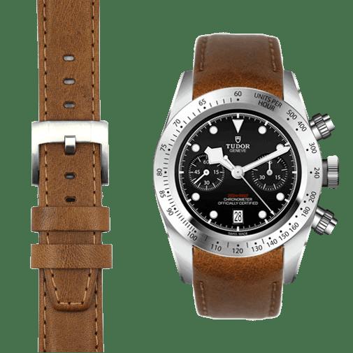 chestnut leather strap on tudor chrono