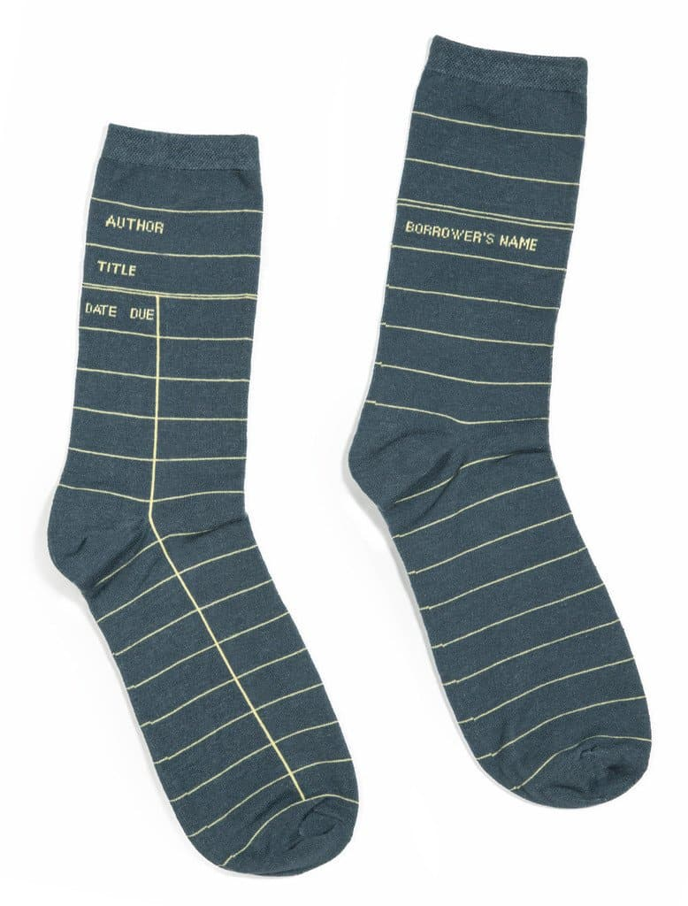Out of Print Library Card Socks Grey
