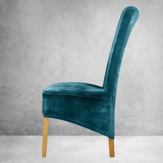 housse de chaise xl velours bleu canard