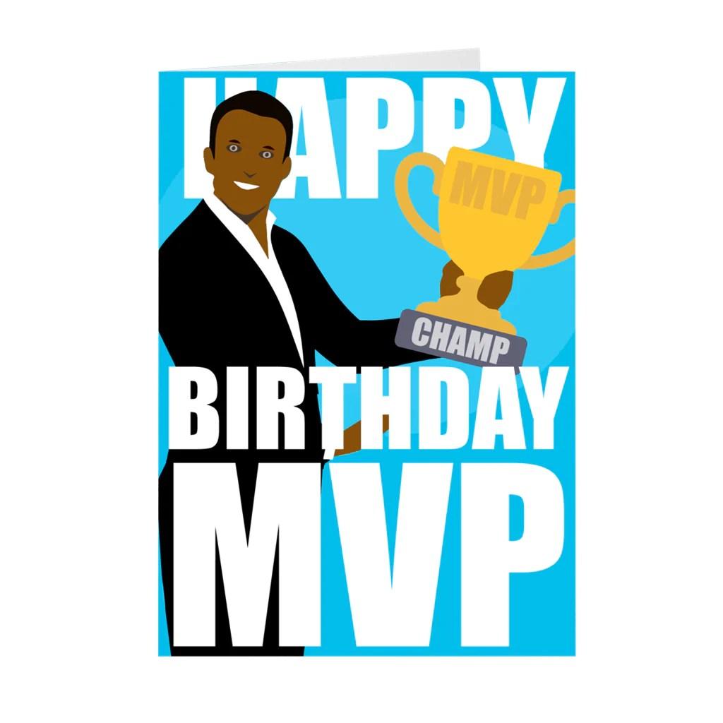 African American Male Mvp Happy Birthday Card Black Stationery