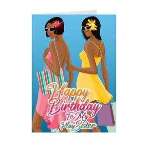 Play Sister Best Friends African American Birthday Greeting Card Black Stationery