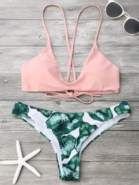 ZAFUL Bikini Set Summer Swimwear Biquini Women Sexy Leaf Print ...