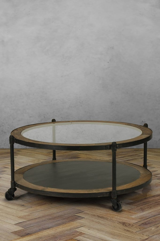 orleans round glass coffee table