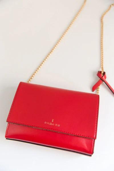 Designer Red Chain Cross Body Vegan Handbags By Angela Roi