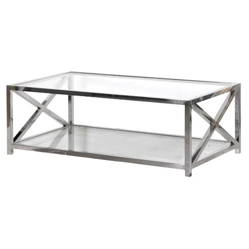 boston solid stainless steel glass criss cross coffee table