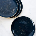 Made To Order Dinner Plates In Navy With Gold Splatters And Gold Rim Suite One Studio