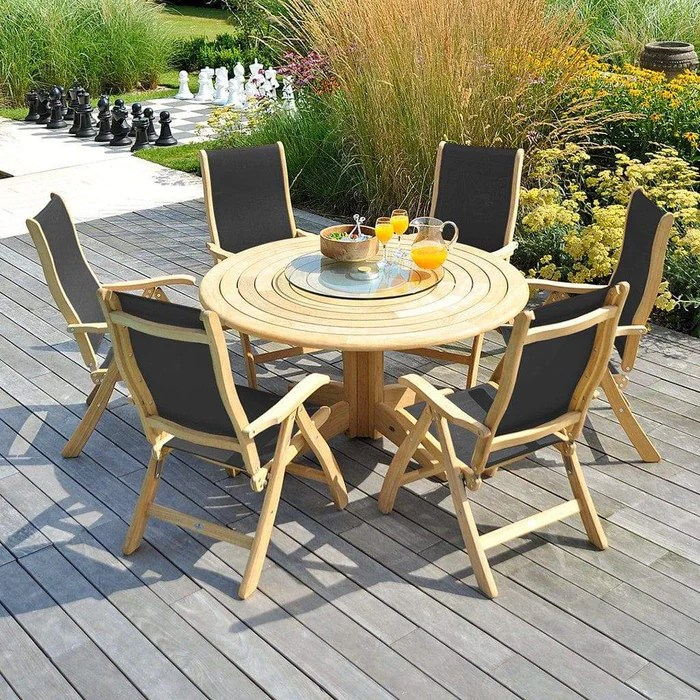 alexander rose roble bengal round wooden garden table 1 45m