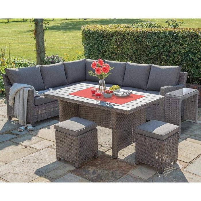 kettler palma right hand rattan corner garden furniture with slat table