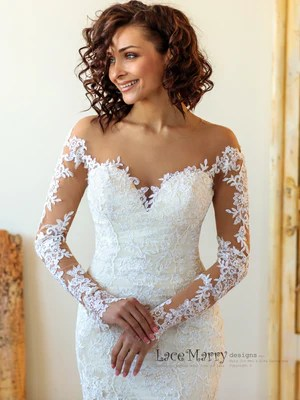 Exquisite Long Lace Sleeves Design Wedding Dress Lacemarry