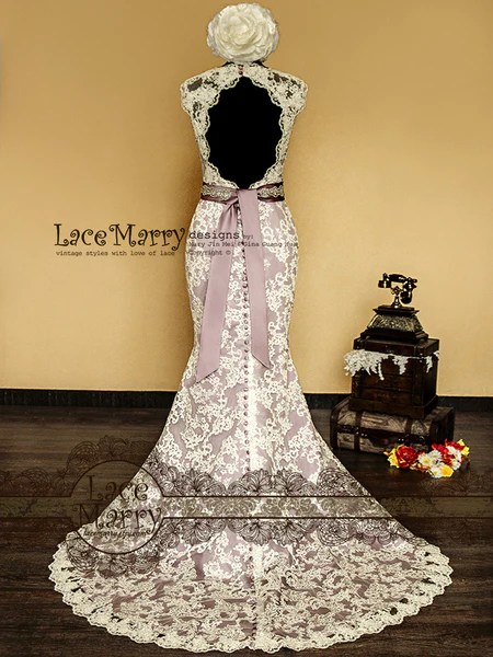 Baroque Dusty Purple Underlay Vintage Style Lace Wedding