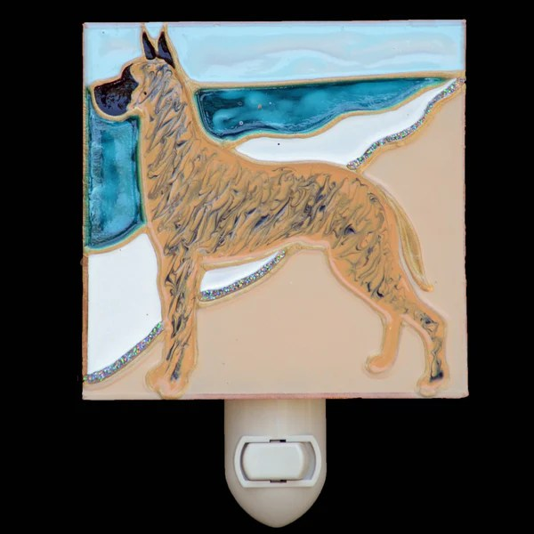Stained Glass Great Dane Night Light Brindle Dane